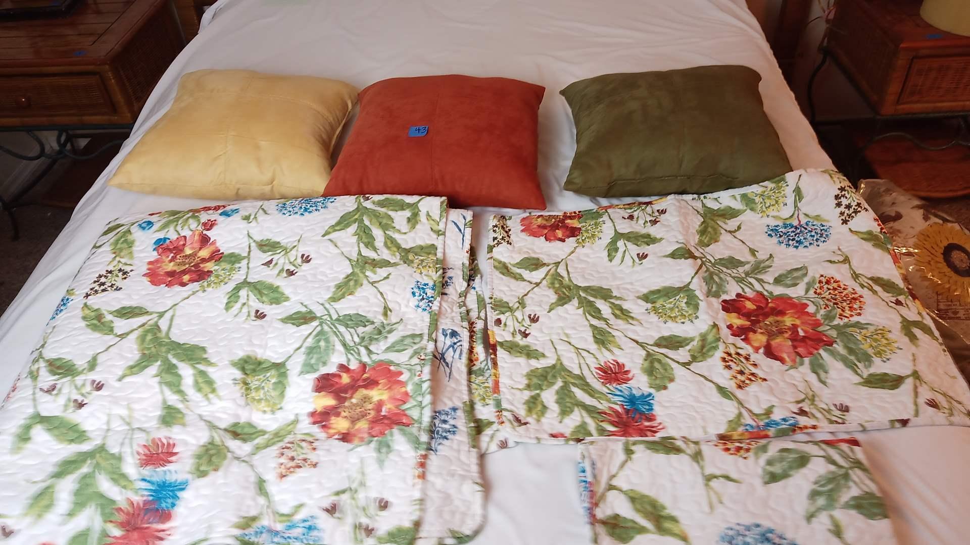 "Lot # 43 3 matching pillows, 90""x 90"" Quilt and matching Shams"