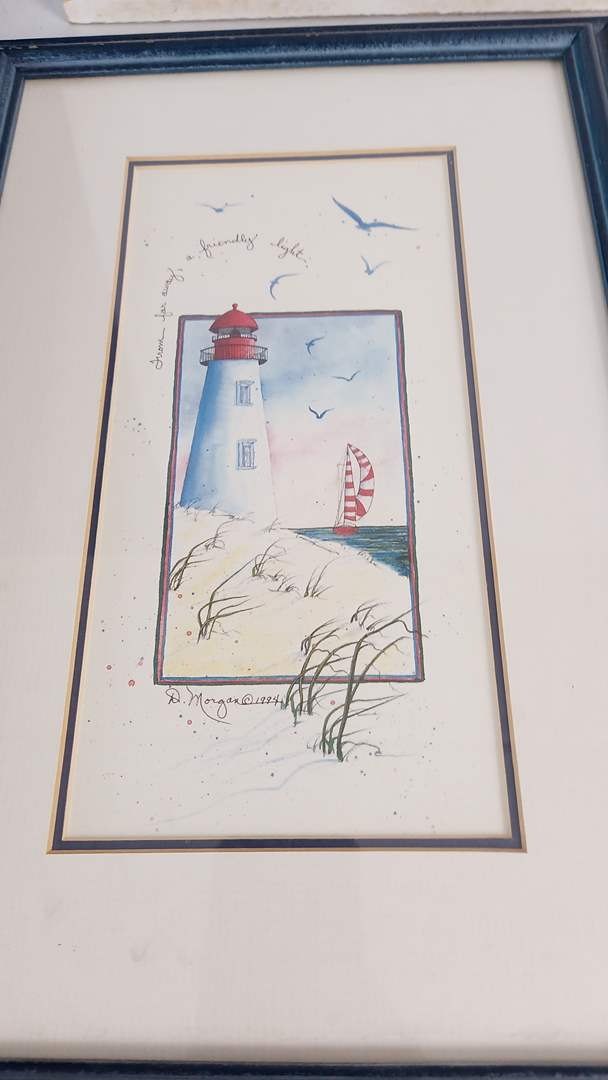 Lot # 50 Misc Home Decor:  2 Framed Pics (Beach & Lighthouse) (1 Signed by D Morgan 1994), Sea Shell wall shelf rack, wood etc