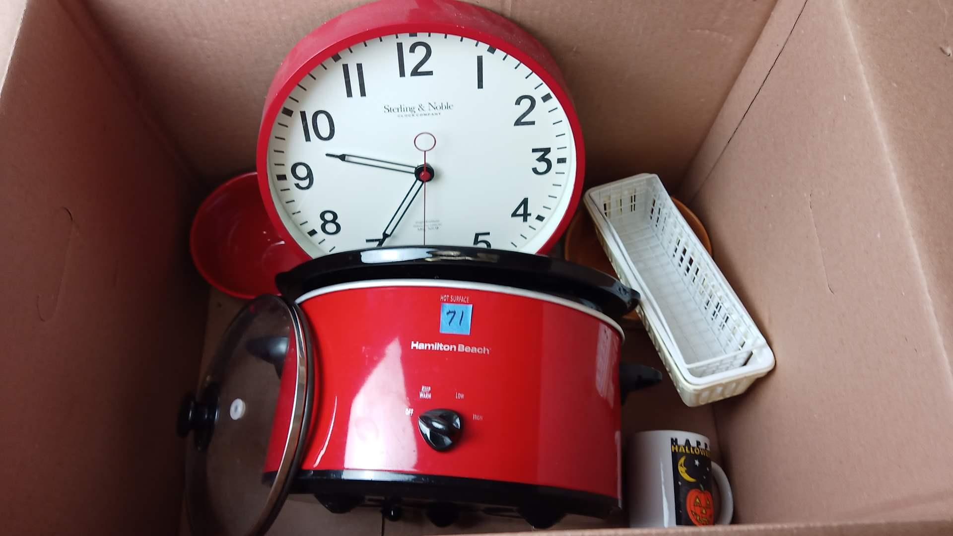 Lot # 71 Miscellaneous Kitchen Collection:  Hamilton Beach Crocker Pot, Red Wall Clock, 3 Soup Bowls and handle, Coffee mug, etc