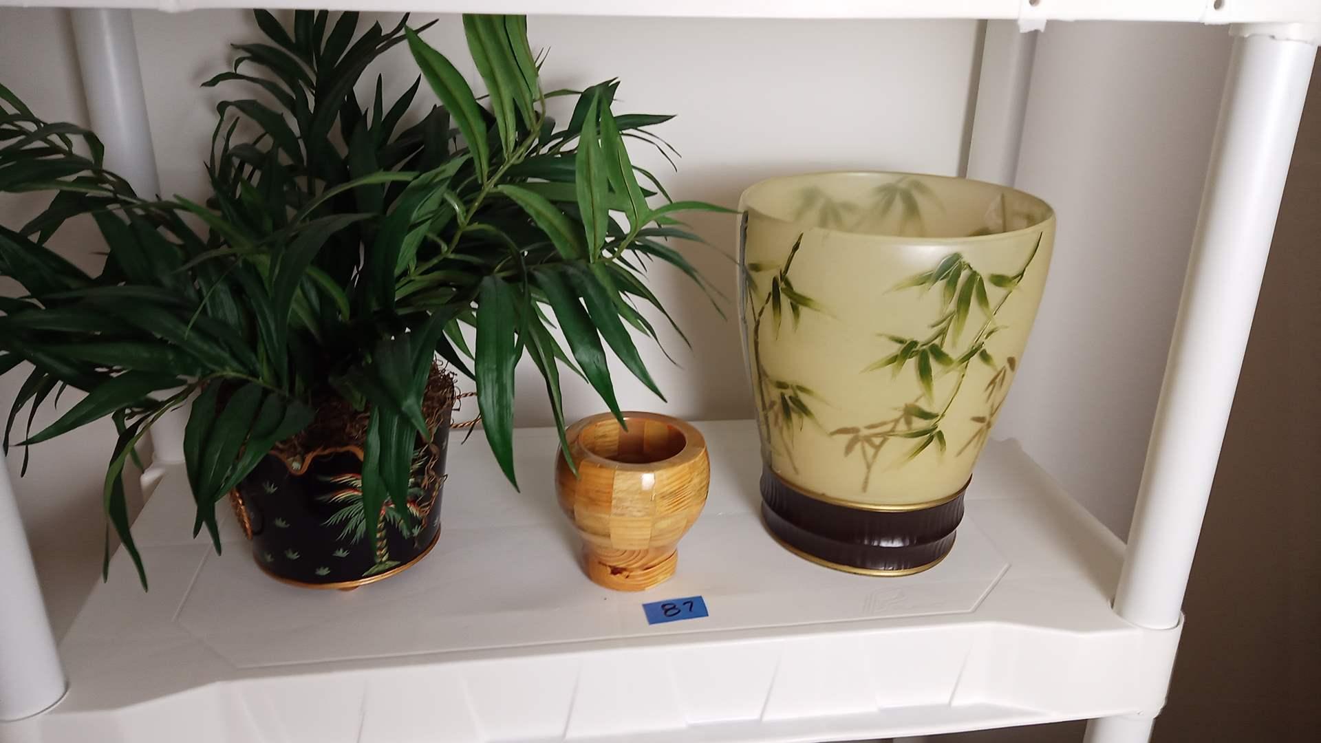 Lot # 87 3 Decorative Pots Mixed Media