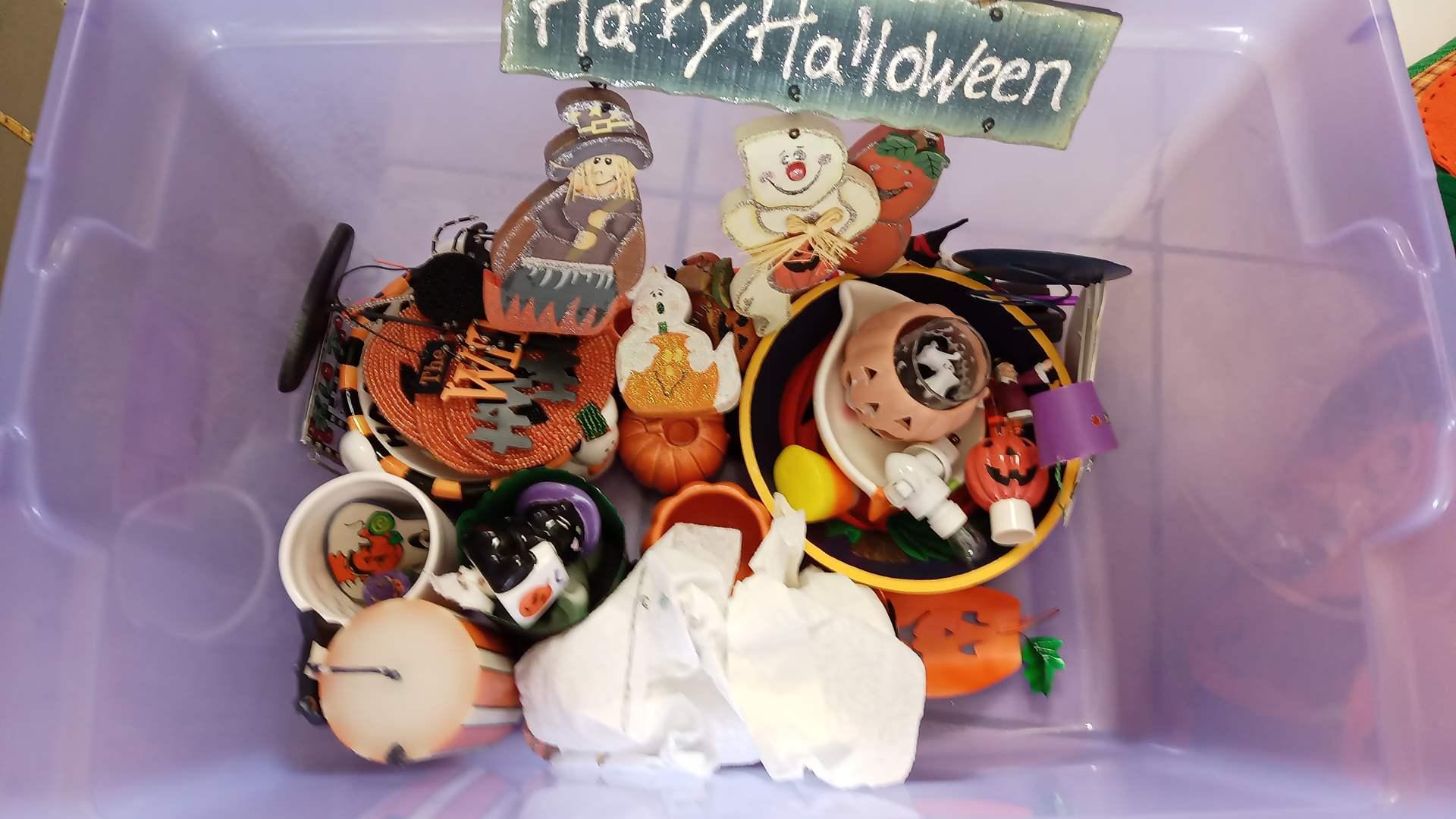 Lot # 96 Halloween Decorations: Paper Supplies, Floor Mat, Blanket, Fake Jackolantern, and more