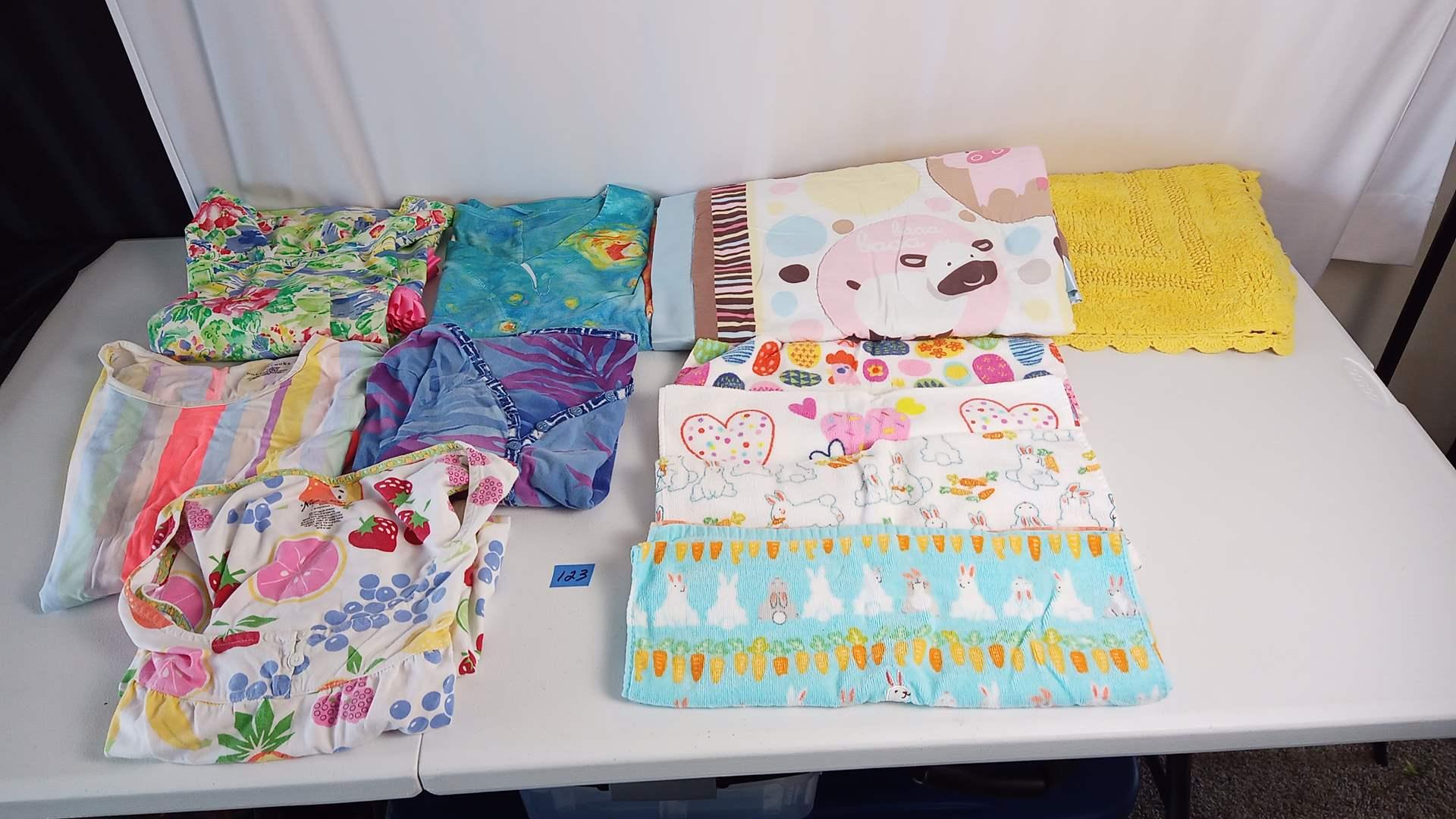 Lot # 123 4 Womans Sleepwear & Top (generally L), Hand Towels, Blanket, Yellow Bath rug,