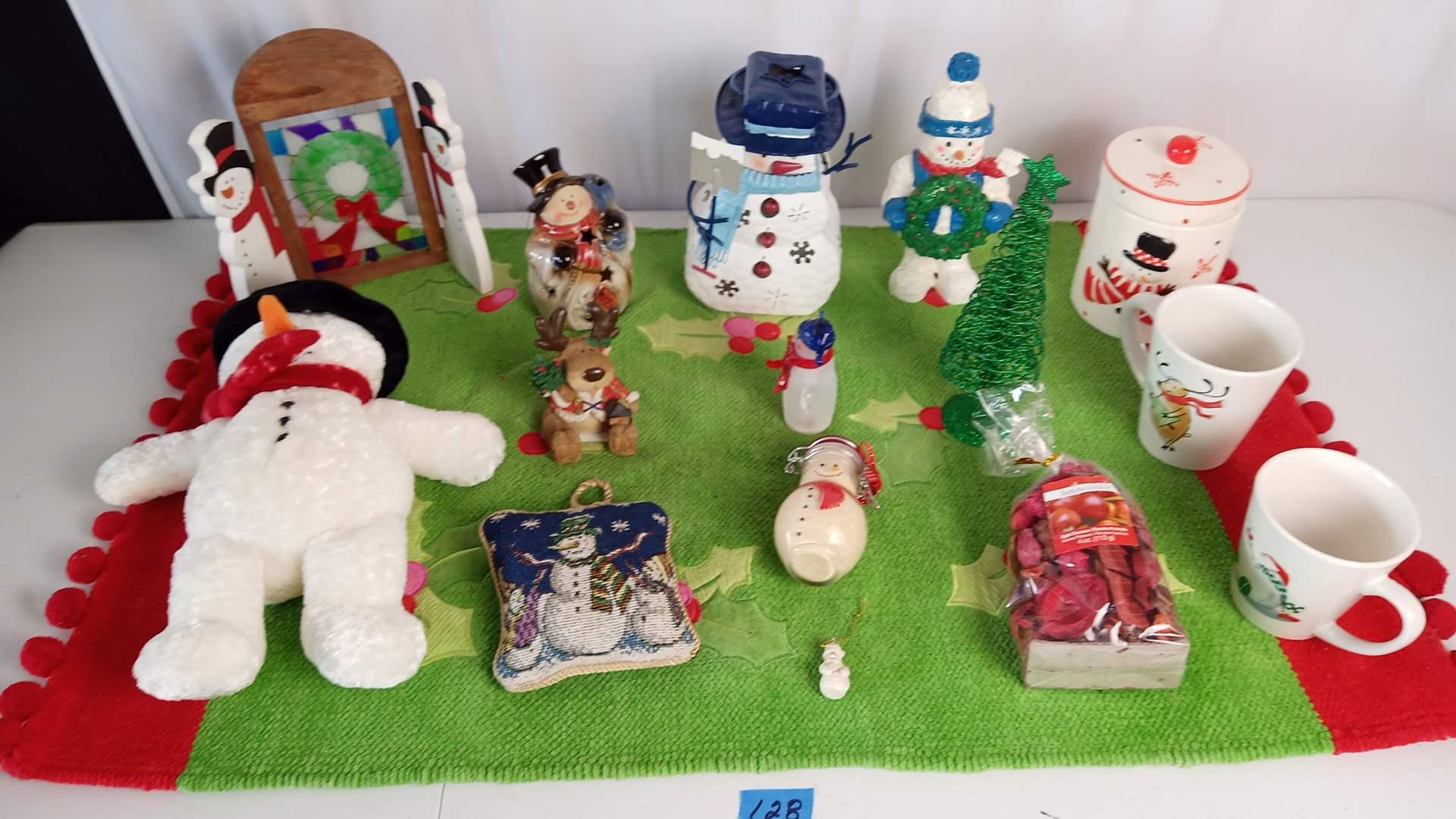 Lot # 128 Snowman Theme Collection: Candy Jars, Pillow, Xmas Tree, Door Hangers, Mugs, Rug, etc