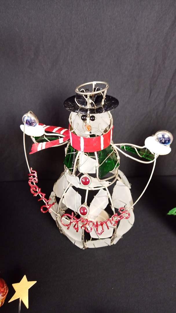 Lot # 129 Christmas Collection: Various Ornaments, Vase, Wicker basket, candle holder, numerous Snowman ornaments, etc