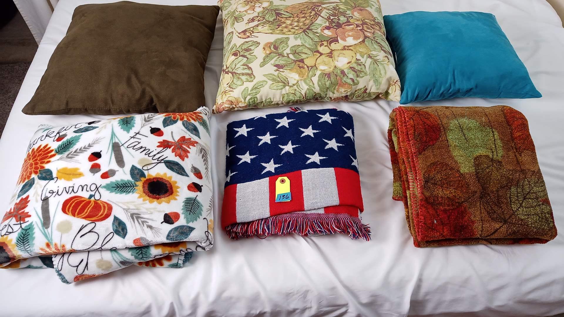 Lot # 136 Home Decor: 3 Pillows & 3 Blankets, USA Flag Blanket etc