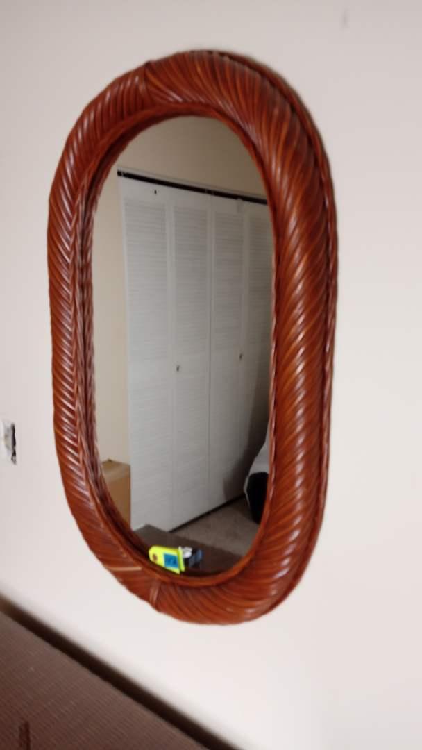 """Lot # 152 Wood and Wicker Wall Mirror 22 1/2"""" x 34"""" tall"""