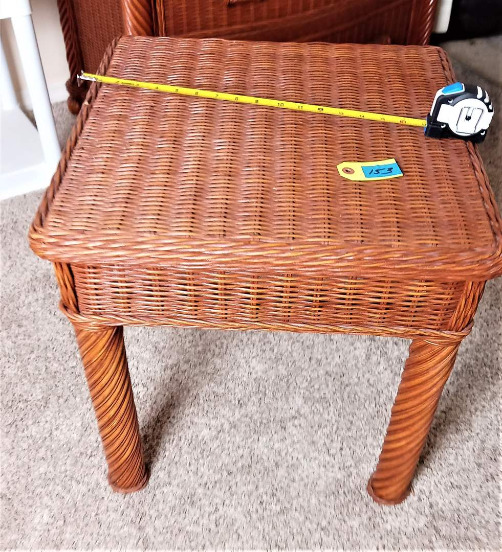 """Lot # 153 Wood and Wicker Side Table. No Drawers or Shelf (20"""" x 20"""" x 20"""")"""