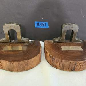 Auction Thumbnail for: Lot # 221 Bookends Made From Wood and Panama Railroad Original Rail & Tie