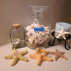 Auction Thumbnail for: Lot # 65 Cute Starfish Candle Holders, Glass jugs Full of SeaShells and Sand