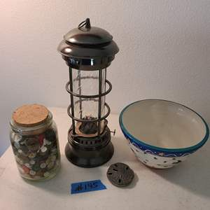 Auction Thumbnail for: Lot # 145 Handmade & Handpainted Bowl-Signed W/ Lantern and Jar of Various Buttons