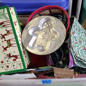 Auction Thumbnail for: Lot # 263 Tote of Christmas Decorations
