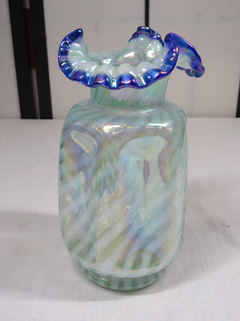 """Lot # 3  Great Fenton ruffled edge and pinched opalescent vase 8 1/2"""" tall (main image)"""