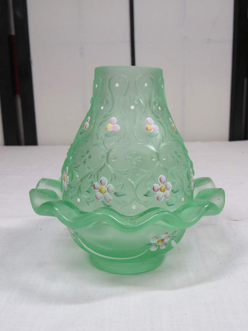 """Lot # 8  Nice Fenton hand painted & signed opalescent fairy lamp 5 1/2""""  (main image)"""