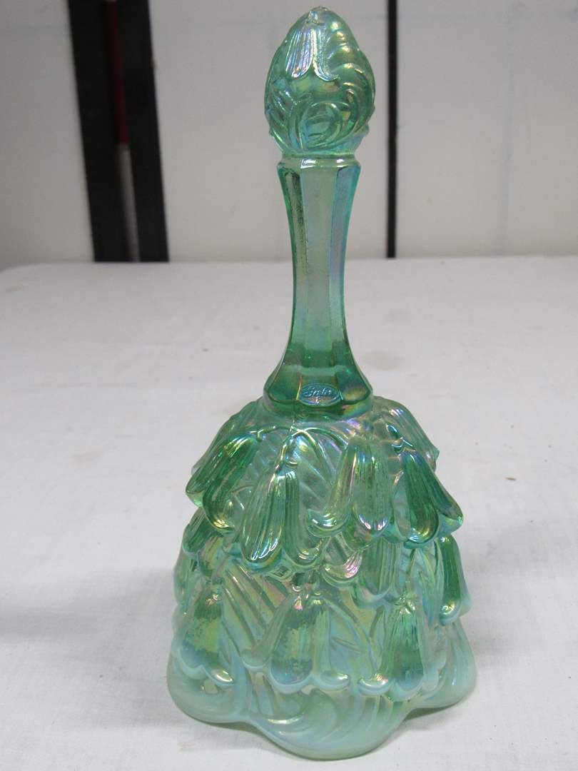 "Lot # 9  Nice Fenton draped opalescent 7"" bell (main image)"