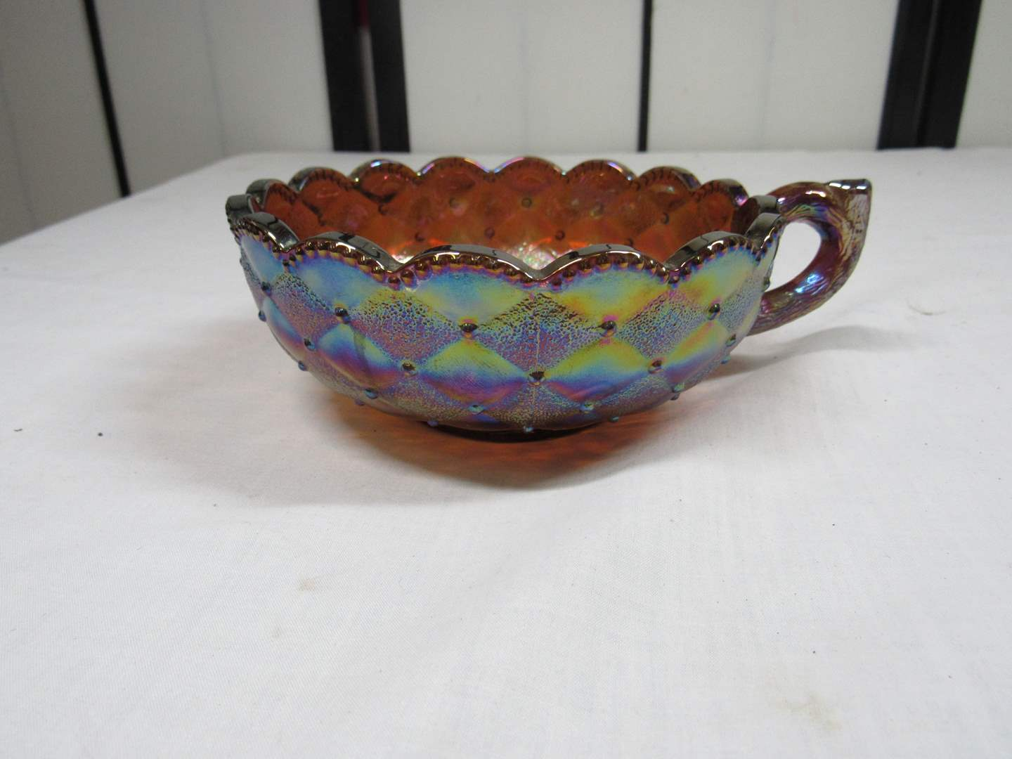 """Lot # 13  Nice Imperial glass signed carnival glass nappy 5 1/2"""" across (main image)"""