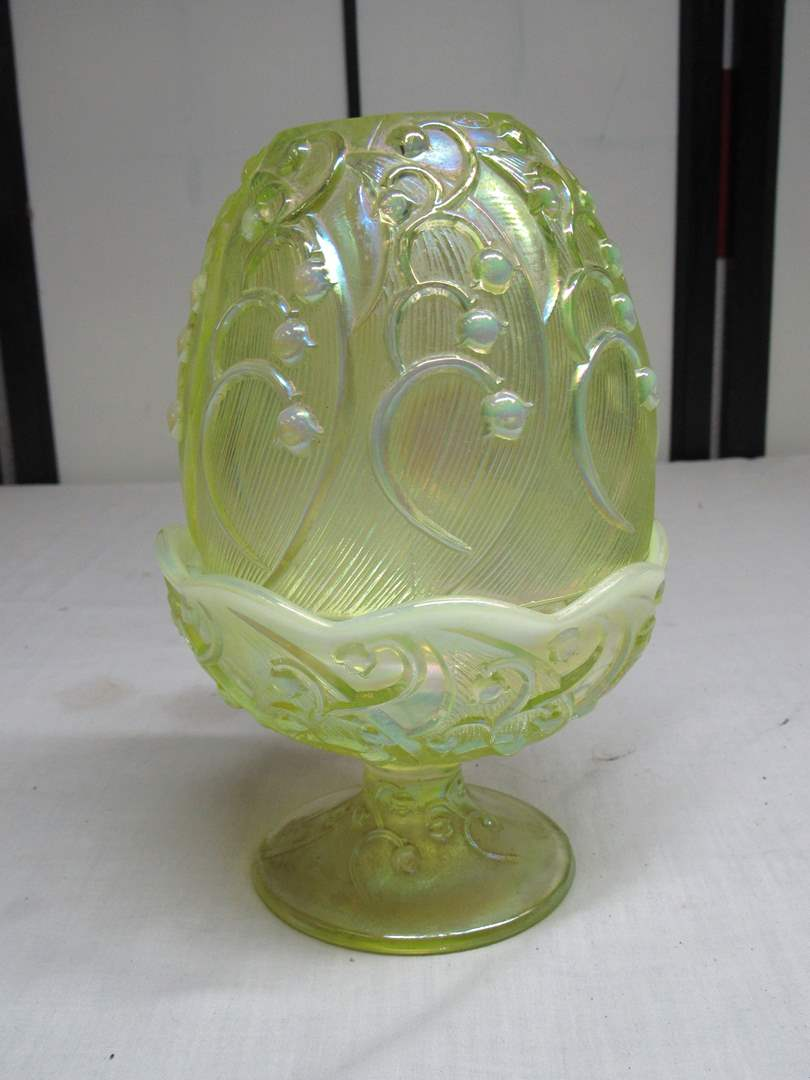 Lot # 20  Awesome Fenton opalescent signed fairy lamp (main image)