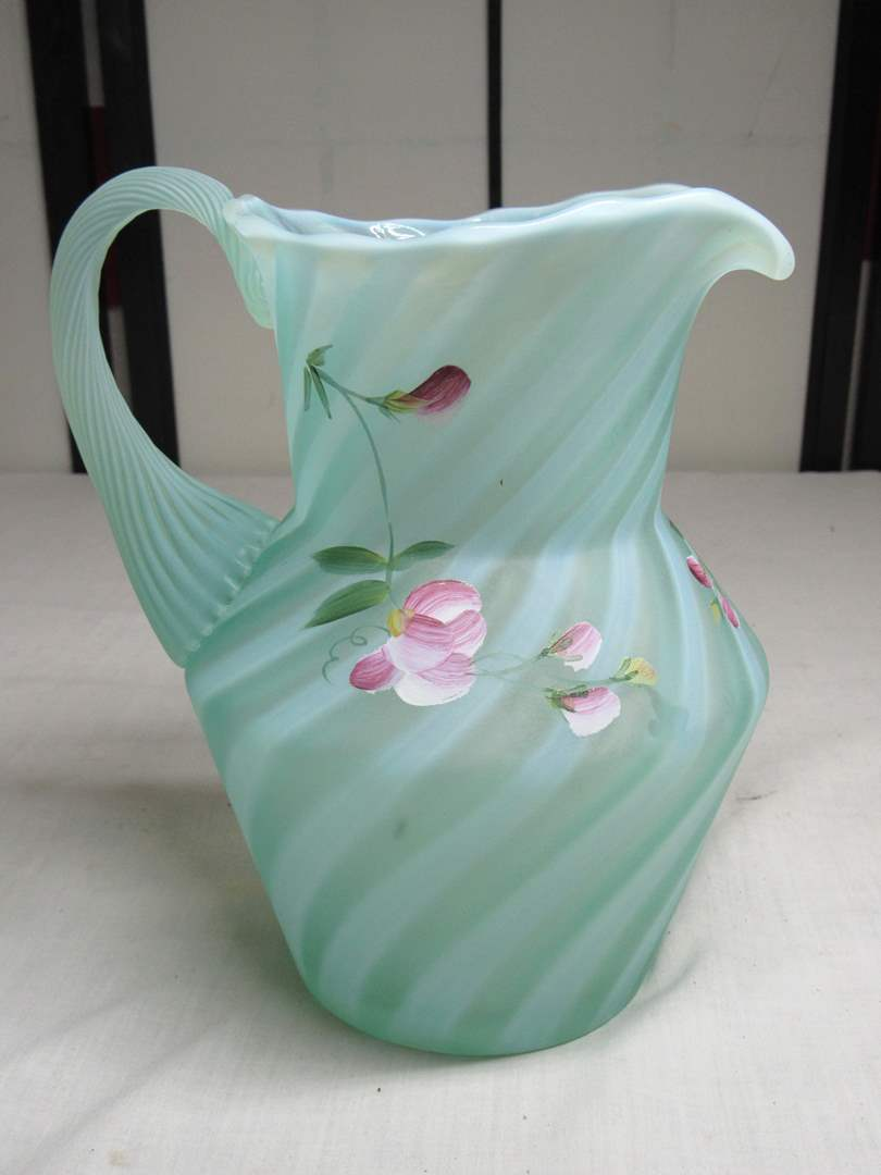 "Lot # 21  Fenton hand painted & signed opalescent satin finish 7"" pitcher (main image)"