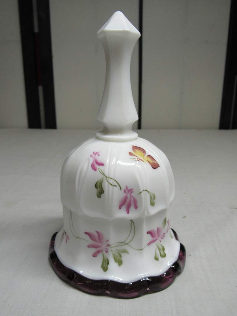 """Lot # 24  White milk glass to plum hand painted & signed 7"""" bell (main image)"""