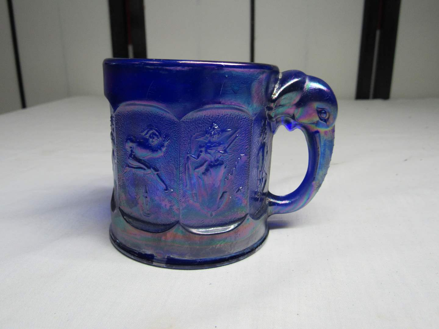 """Lot # 26  Signed Imperial Glass carnival fairy tale 3"""" tall child's mug  (GREAT deep cobalt) (main image)"""