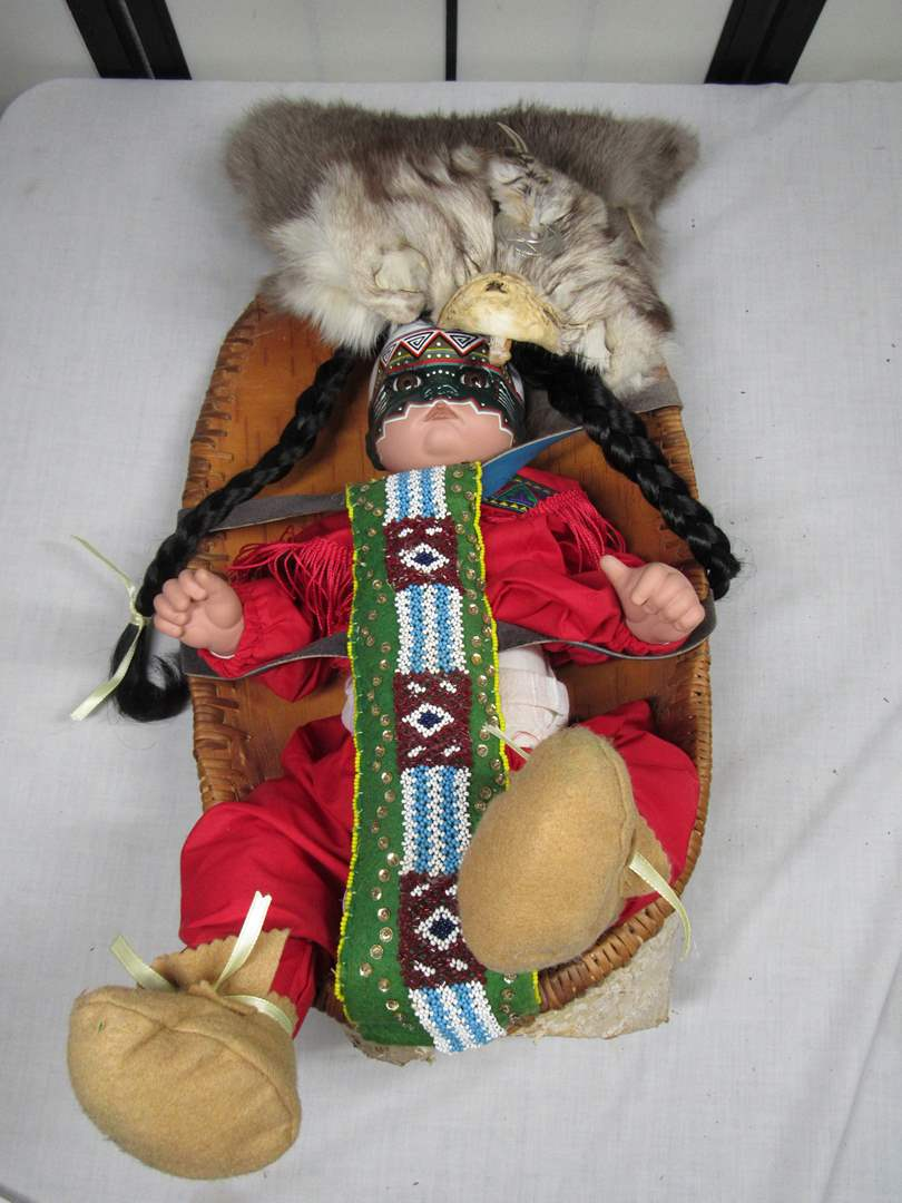 Lot # 35  WOW Native American HAND MADE Papoose with child (read below) (main image)