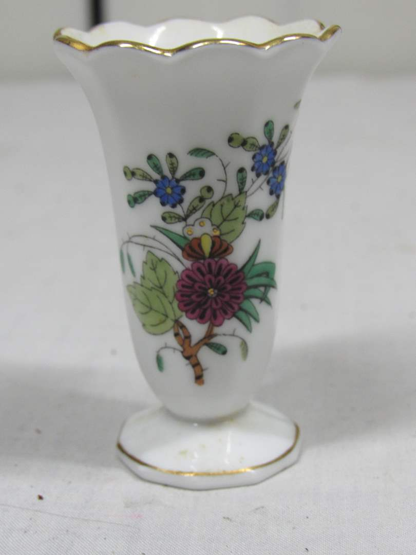 """Lot # 37  Hand painted 3"""" Herend Hungary vase (main image)"""