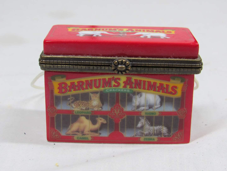 "Lot # 38  Great trinket box Nabisco Barnums Animals circus 2"" across (main image)"