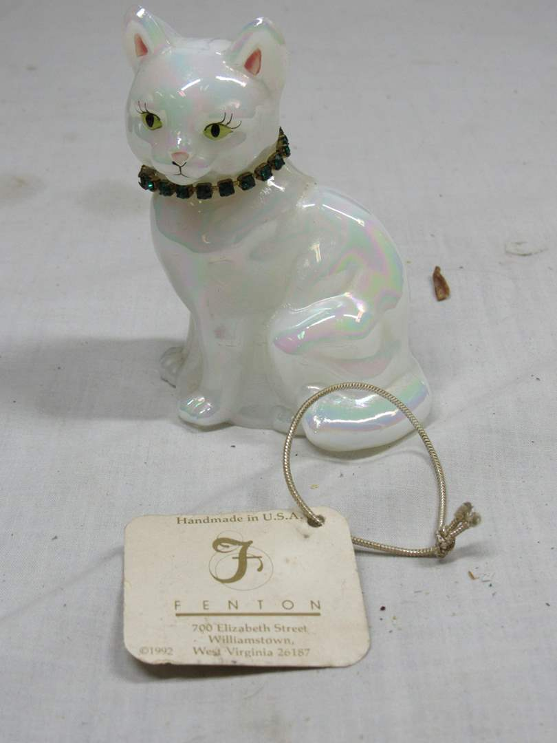 """Lot # 40  Fenton opalescent jeweled cat signed birth month May 4"""" tall (main image)"""