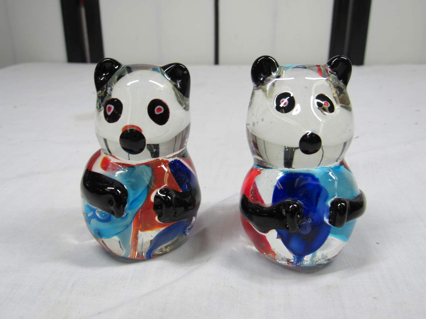 "Lot # 41  2 Hand blown Panda bears 3"" tall (perfect condition) (main image)"