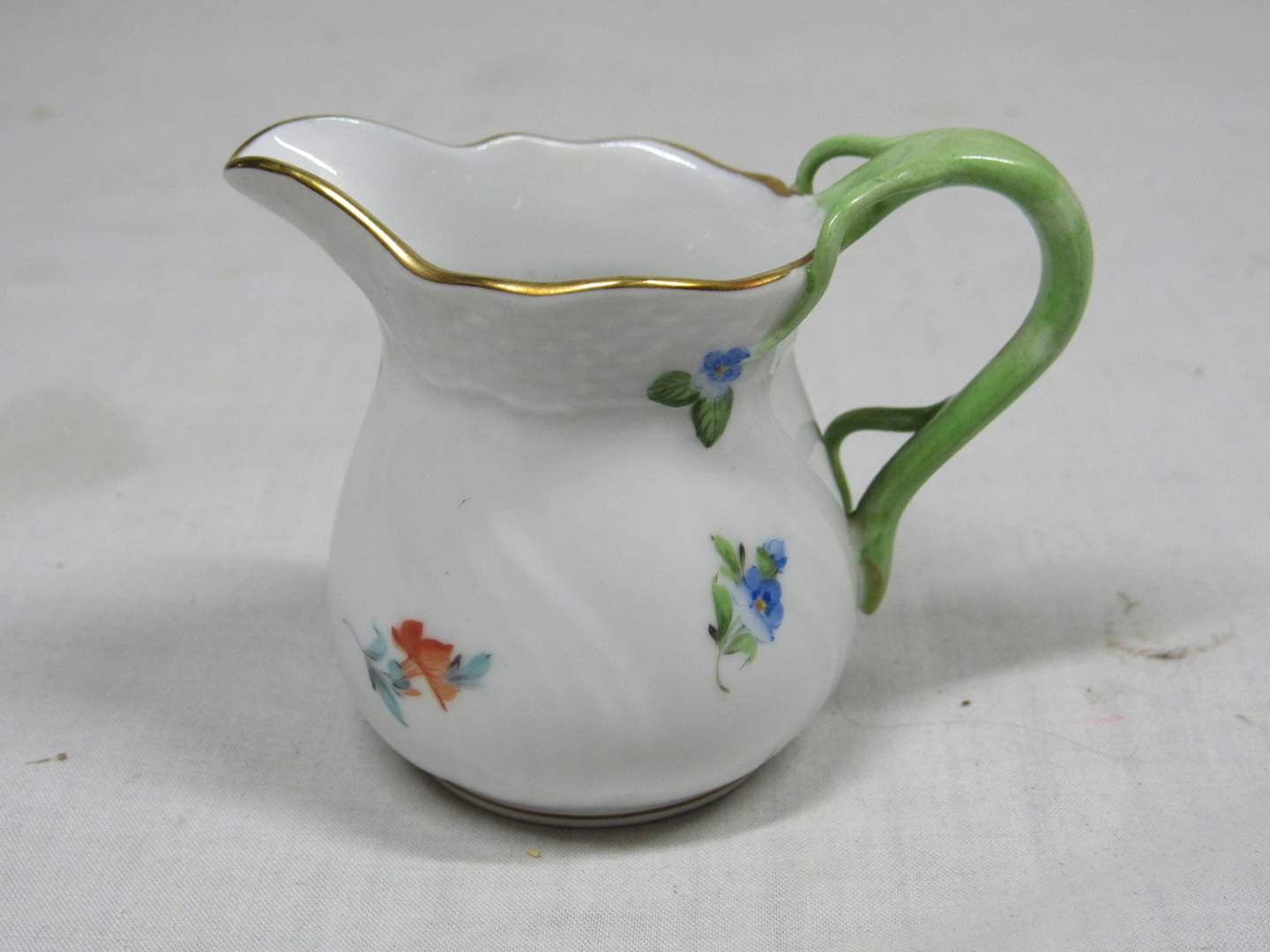"Lot # 46  Great Herend Hungary milk/cream pitcher 2 1/2"" tall  (highly collectible) (main image)"
