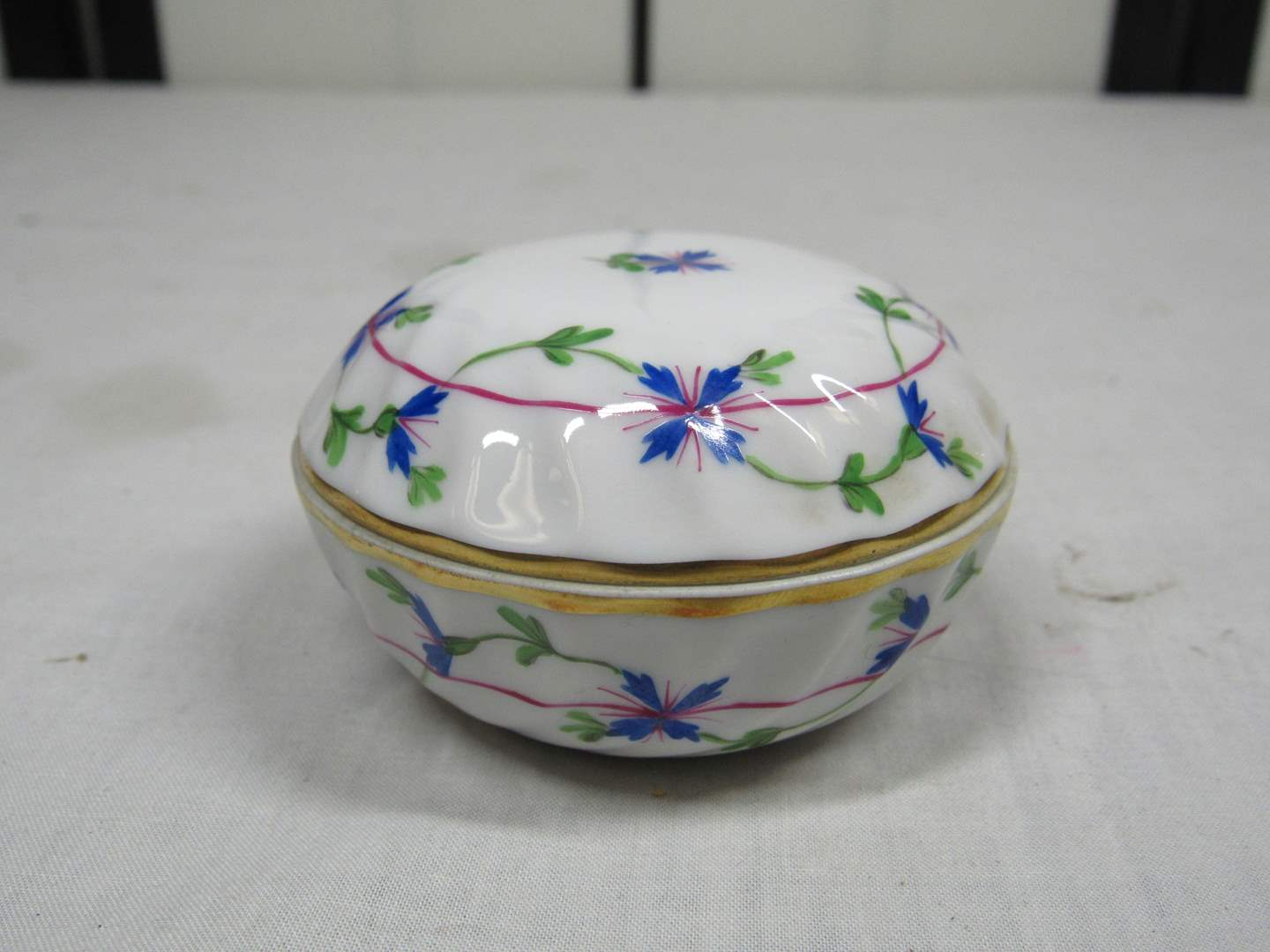 """Lot # 47  Great Herend Hungary covered trinket 3"""" across  (highly collectible) (main image)"""