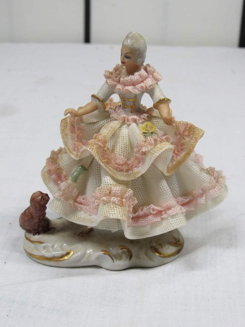 "Lot # 48  Vintage Dresden Ballerina (need a GOOD cleaning) 4"" tall (slight damage) (main image)"