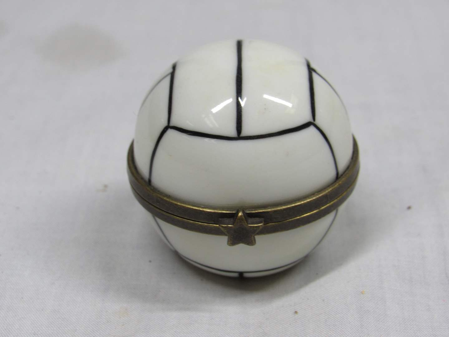 "Lot # 50  PHB Soccer ball trinket box 1 1/2"" tall (main image)"