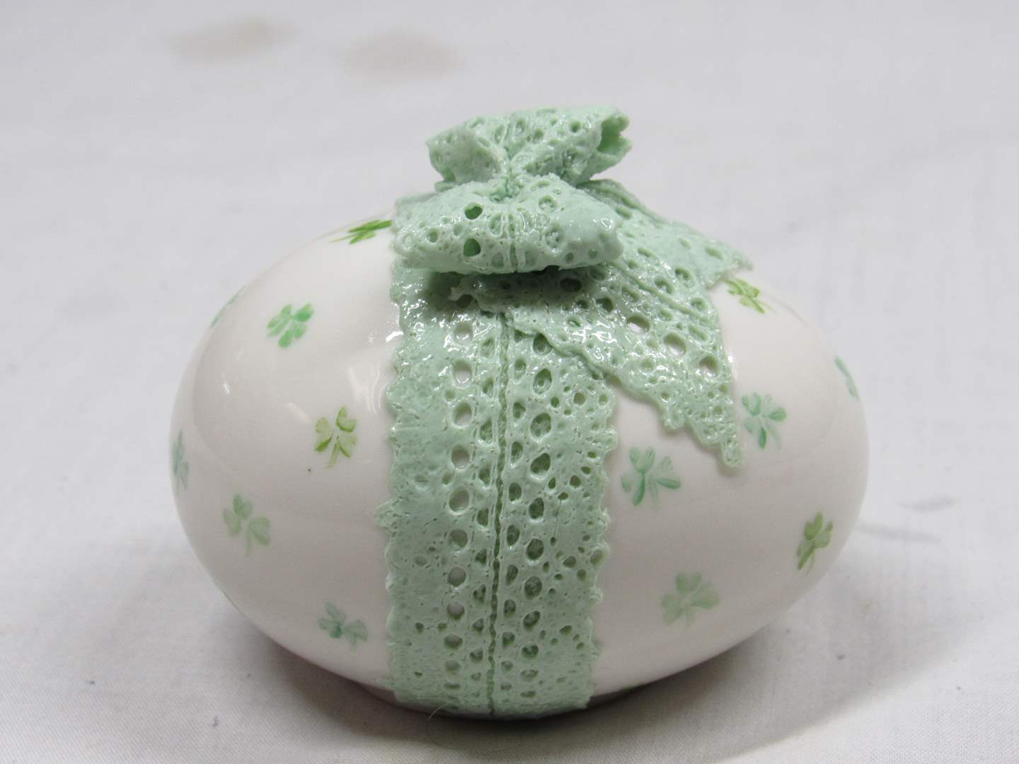 """Lot # 53  WOW vintage Irish Dresden egg paperweight (great condition) 3"""" across (main image)"""
