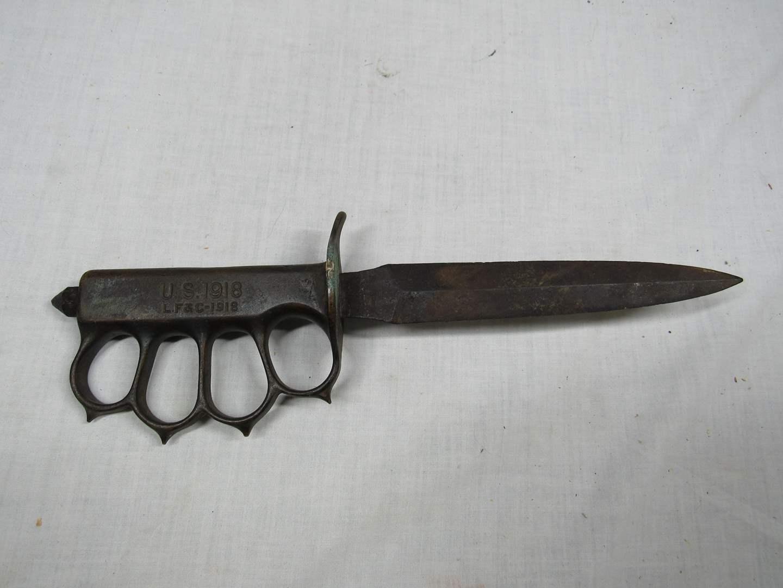 Lot # 64  U.S. 1918 LF&C Trench KNUCKLE Knife WWI (RARE read below) (main image)