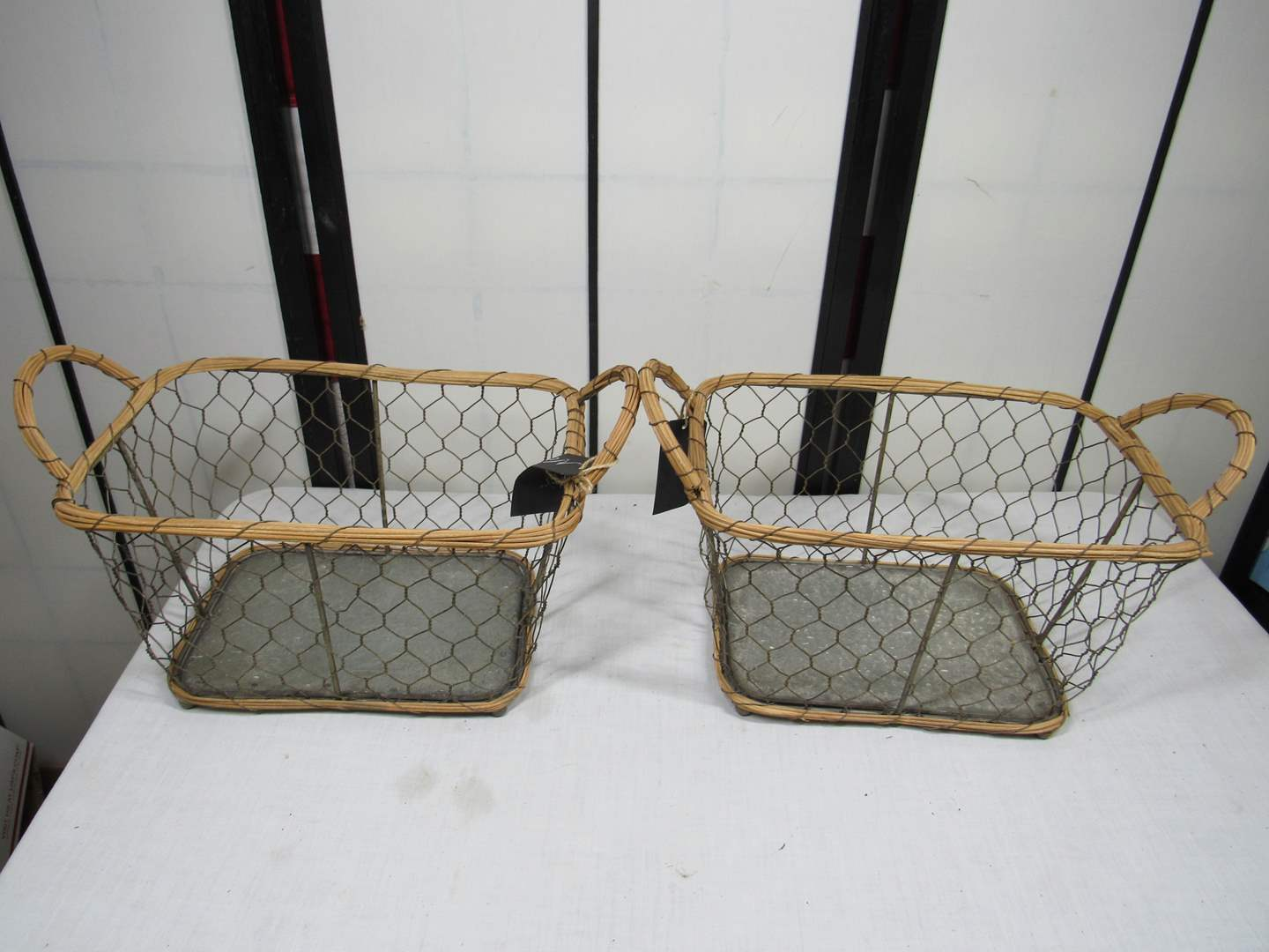 "Lot # 71  Nice vintage look 12X8X6"" tall baskets (main image)"