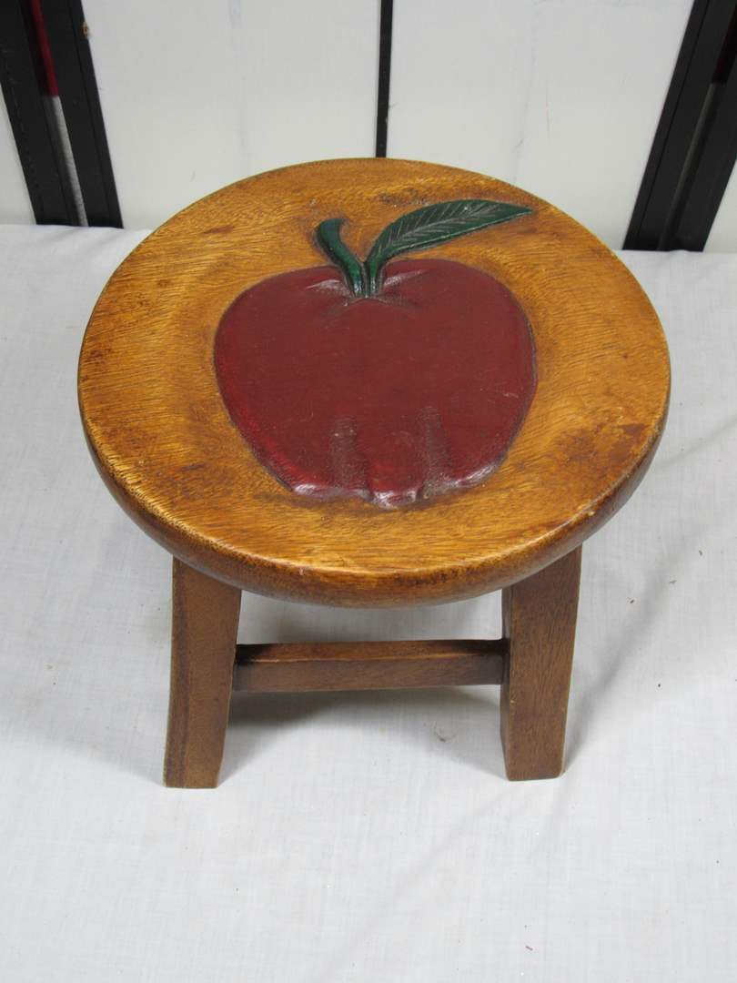 """Lot # 76  Cute child's home made wood apple stool 9"""" tall (main image)"""