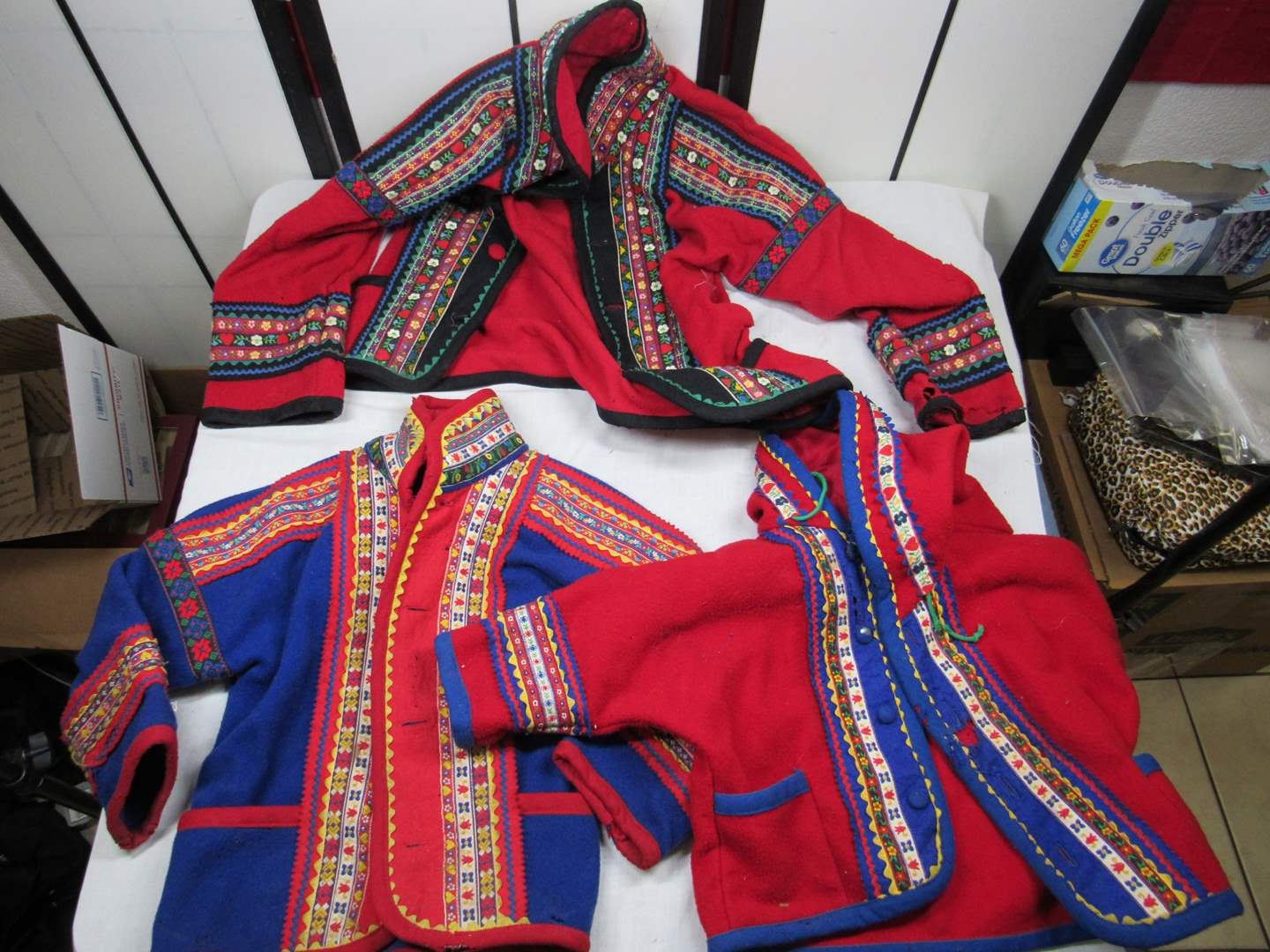 Lot # 77  Great grouping of Scandanavian design Samii Cloths Vermont (child sizes) do show some damage (main image)
