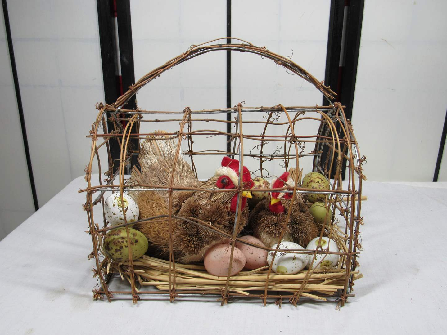 """Lot # 93  Caged hens with ages (very good look) 12X10"""" (main image)"""