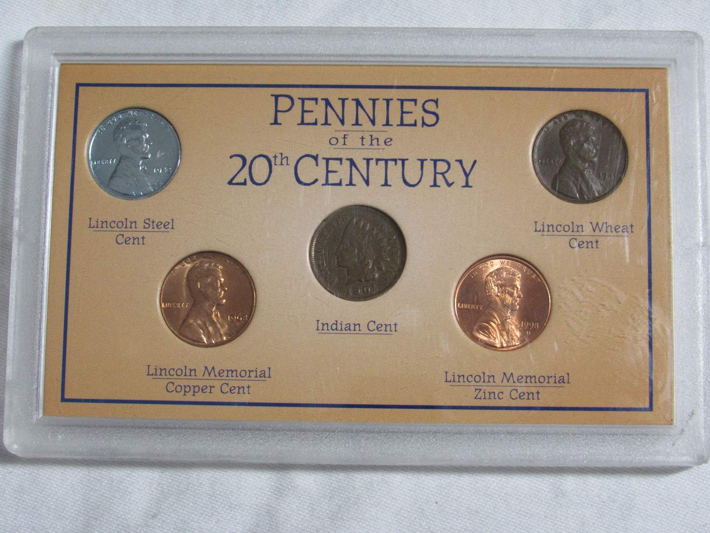 Lot # 144  Display of pennies of the 20th Century (main image)