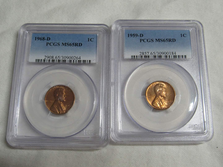 Lot # 159  2 Very high grade vintage pennies both MS65RD  (main image)