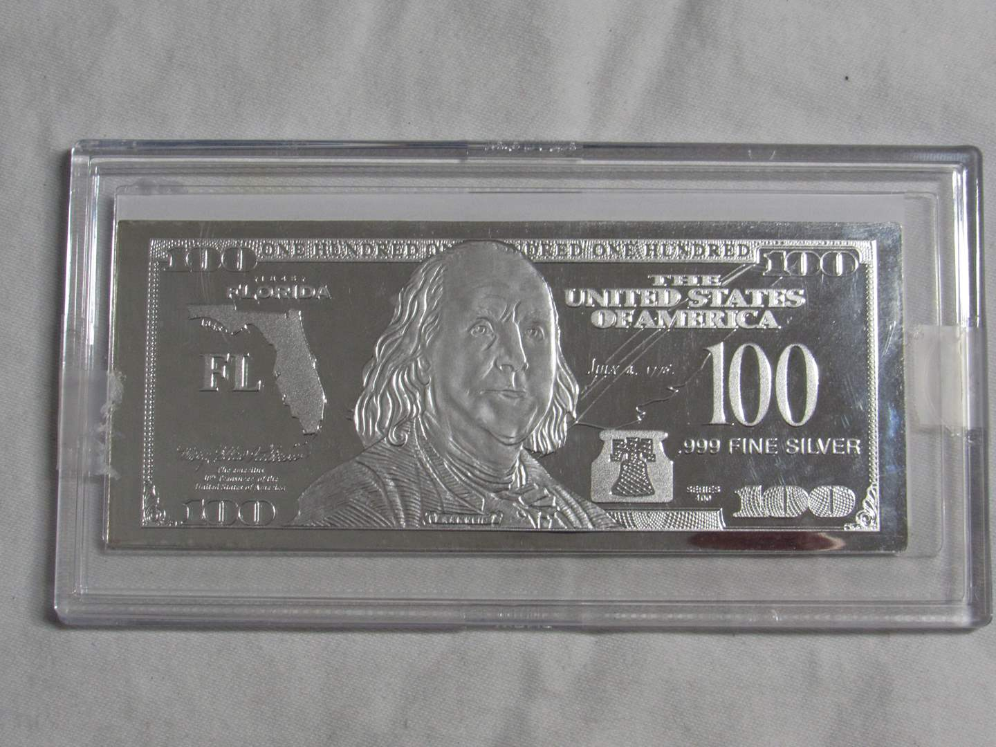 Lot # 166  One ounce Franklin 2017 Silver note .999 silver (limited) (main image)