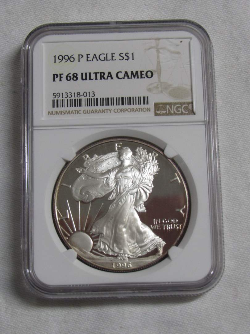 Lot # 168  1996 P EAGLE HIGH grade PF 69 Cameo .999 silver ounce coin (main image)