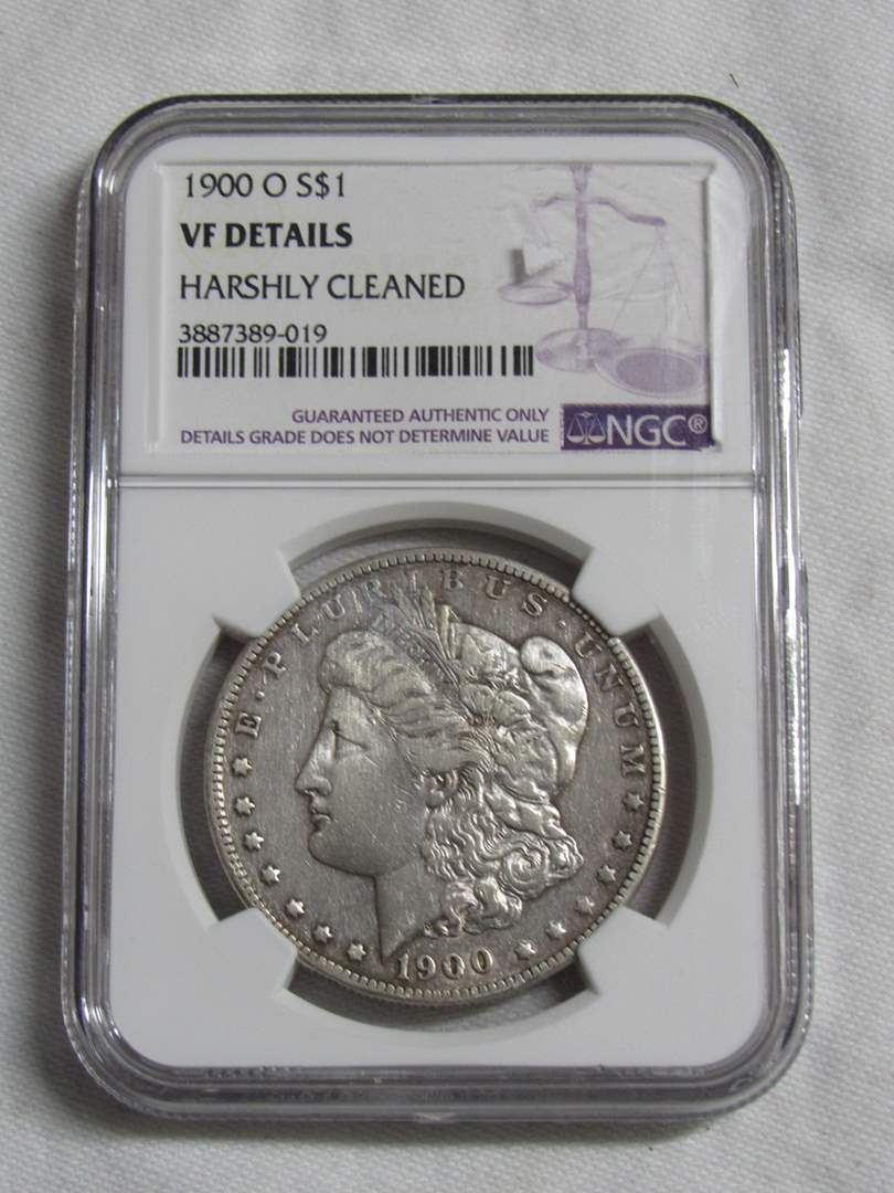 Lot # 169  Certified 1900 Morgan Silver Dollar (cleaned) (main image)