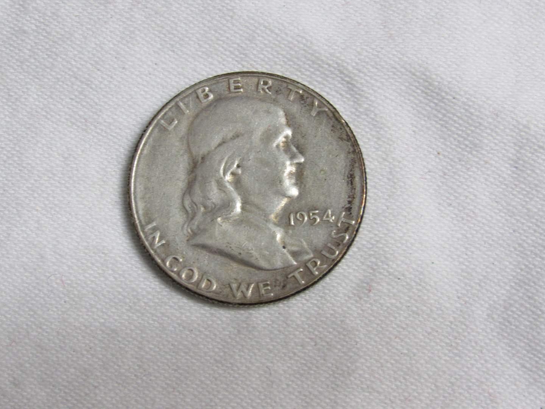 Lot # 171  1954 Franklin 90% silver half dollar (nice clean coin) (main image)