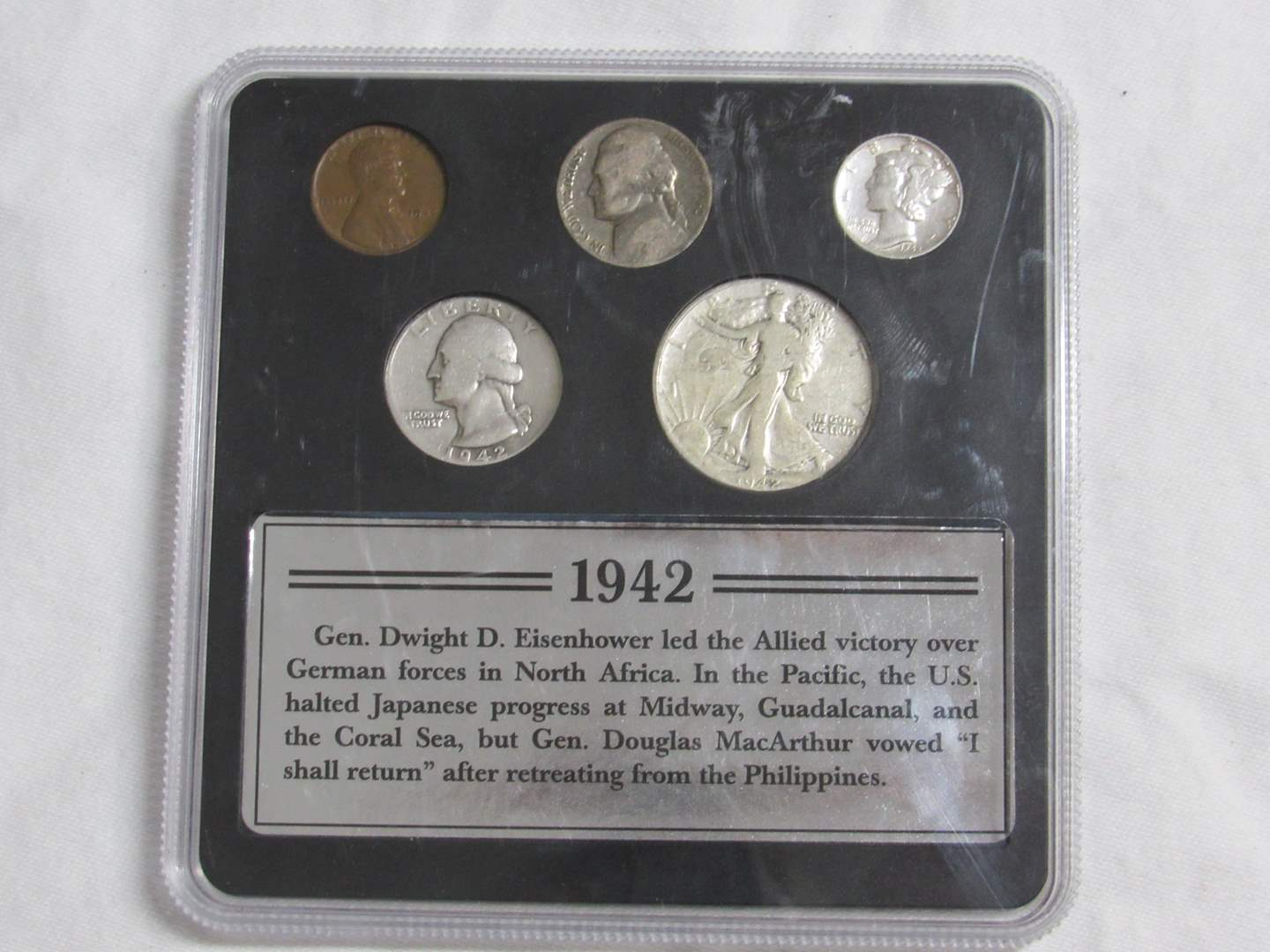 Lot # 174  1942 90% silver cased coin set (great looking coins) (main image)