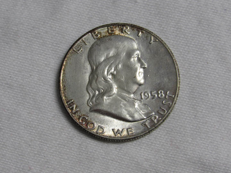 Lot # 175  1958 Franklin 90% silver half dollar (main image)