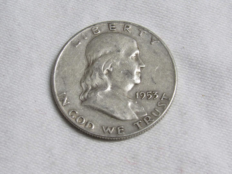 Lot # 182  1953 Franklin 90% silver half dollar  (main image)
