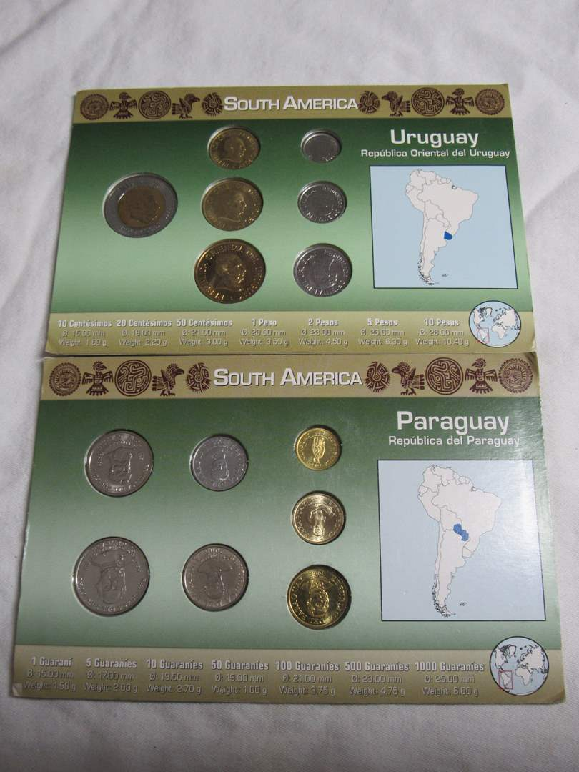 Lot # 186   2 great lots of displayed foreign coins untouched condition (main image)
