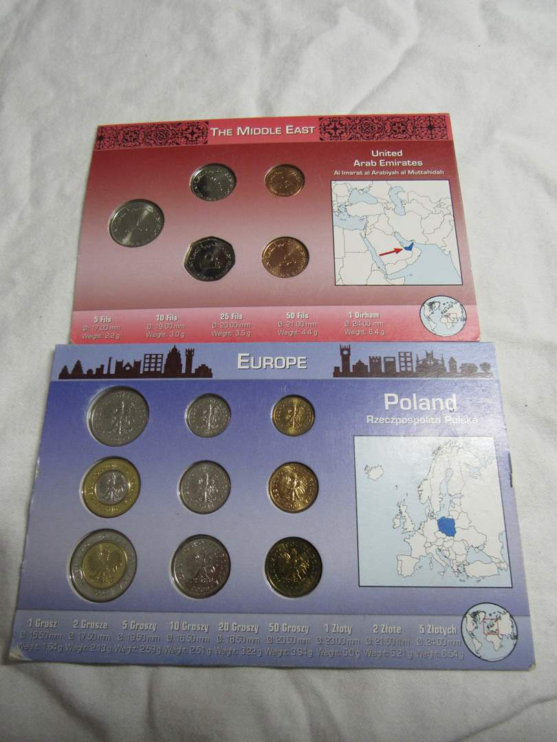 Lot # 188   2 great lots of displayed foreign coins untouched condition (main image)