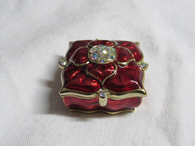 Lot # 190  Nice jeweled enamel flip top miniature trinket box (main image)